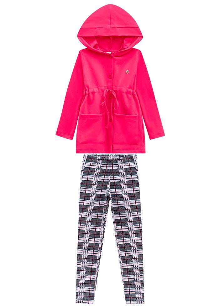 Conjunto Infantil Feminino Inverno Rosa Abrange