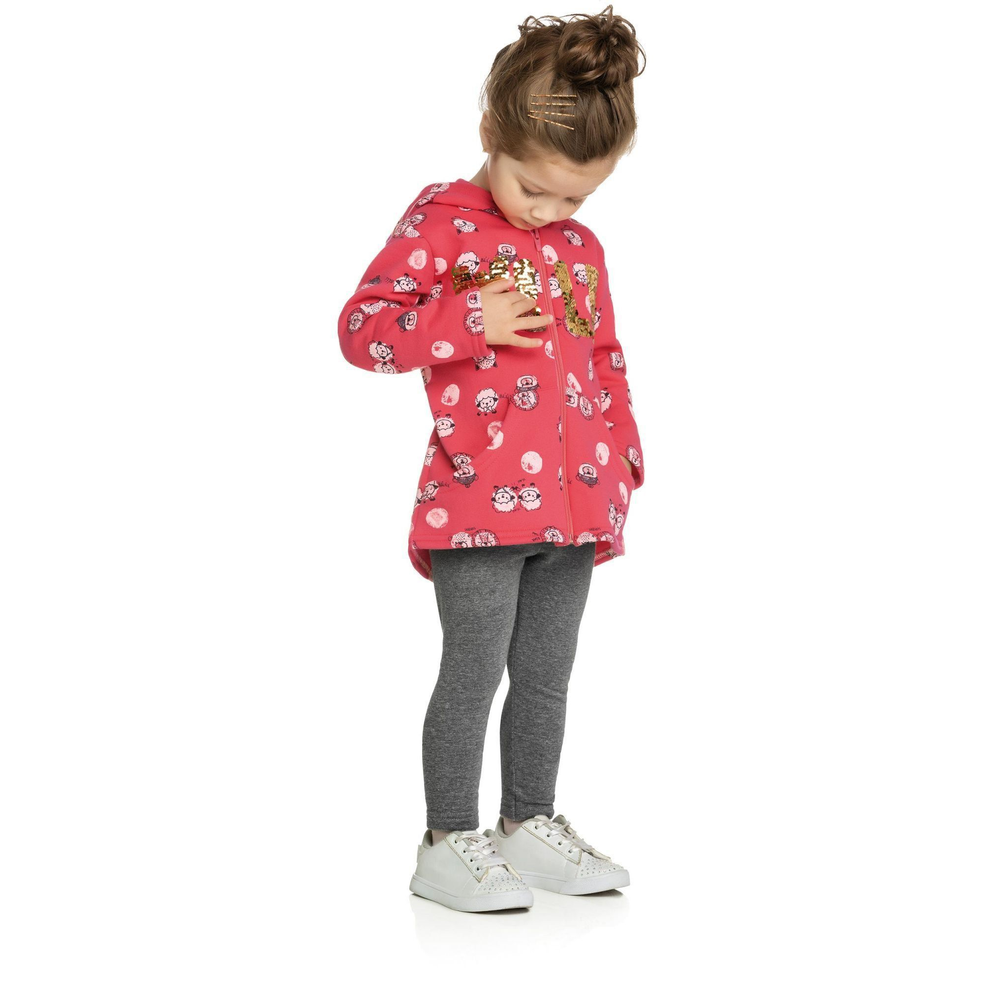 Conjunto Infantil Feminino Inverno Rosa Wild Elian