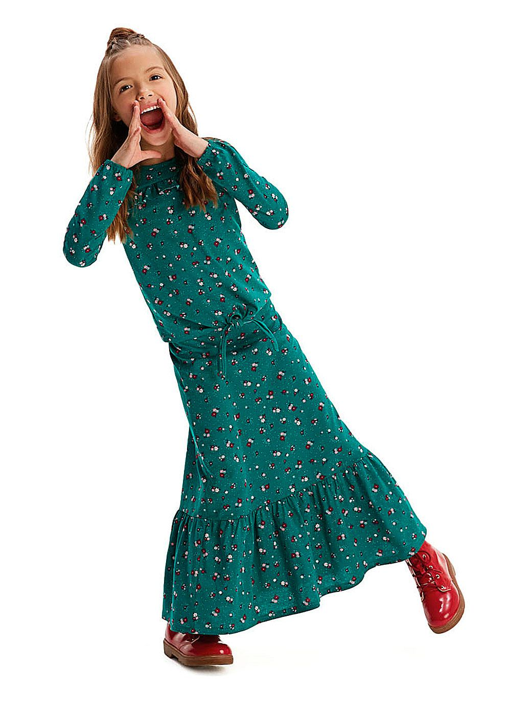 Conjunto Infantil Feminino Inverno Verde Flor Malwee