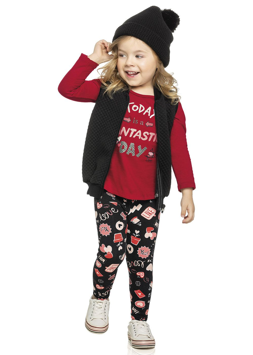 Conjunto Infantil Feminino Inverno Vermelha Fantastic Elian
