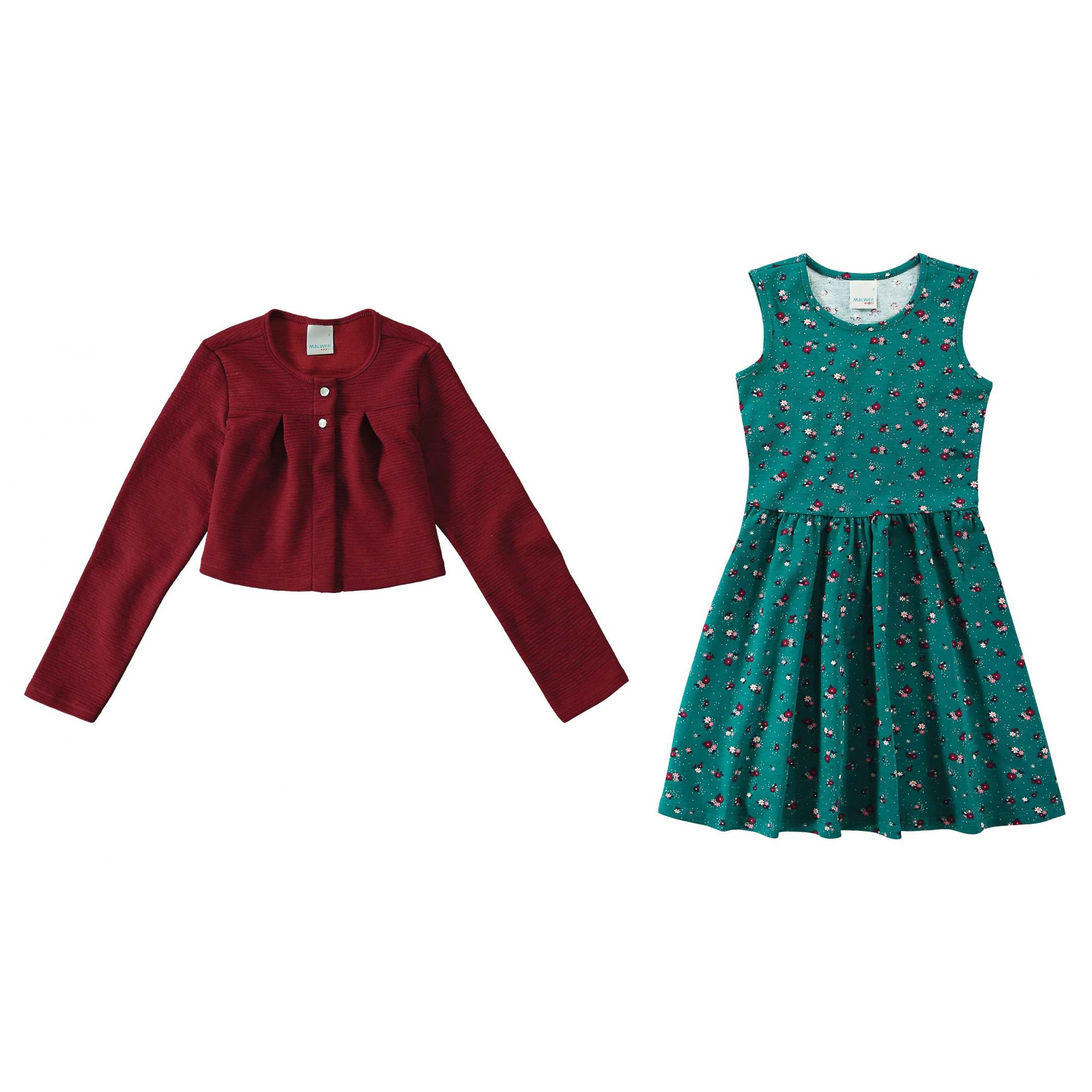 Conjunto Infantil Feminino Inverno Vermelho Flor Malwee