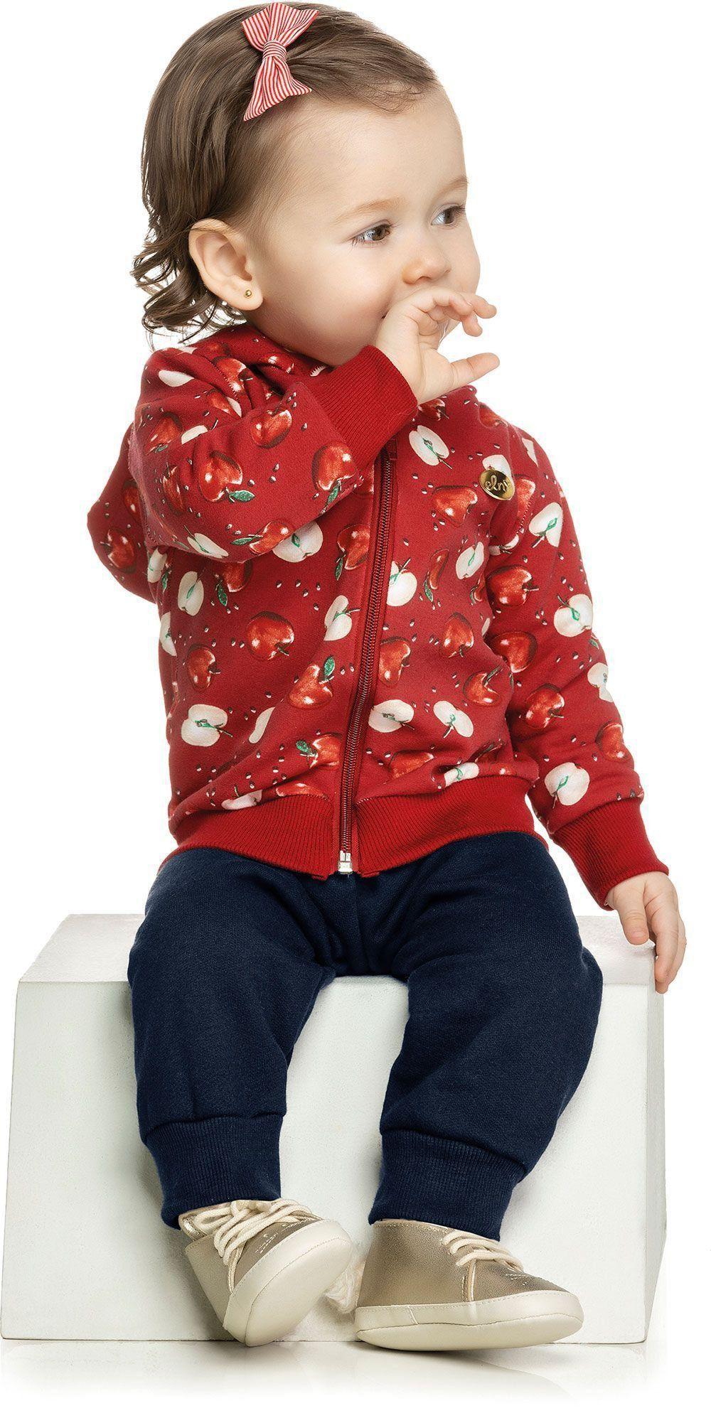 Conjunto Infantil Feminino Inverno Vermelho Maçãs Elian