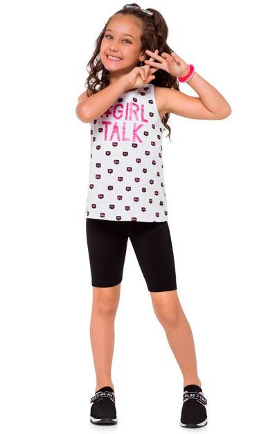 Conjunto Infantil Feminino Verão Cinza Girl Kyly