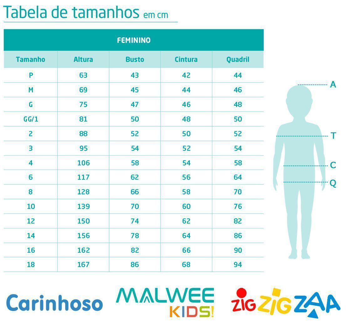 Conjunto Infantil Feminino Verão Branco Hug  Malwee: Tabela de medidas