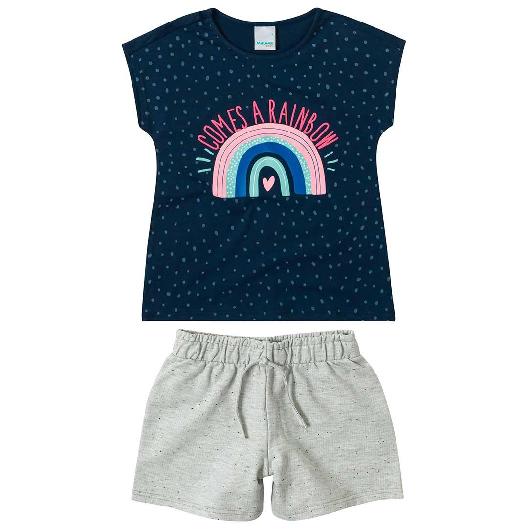 Conjunto Infantil Feminino Malwee Curto Azul Rainbow