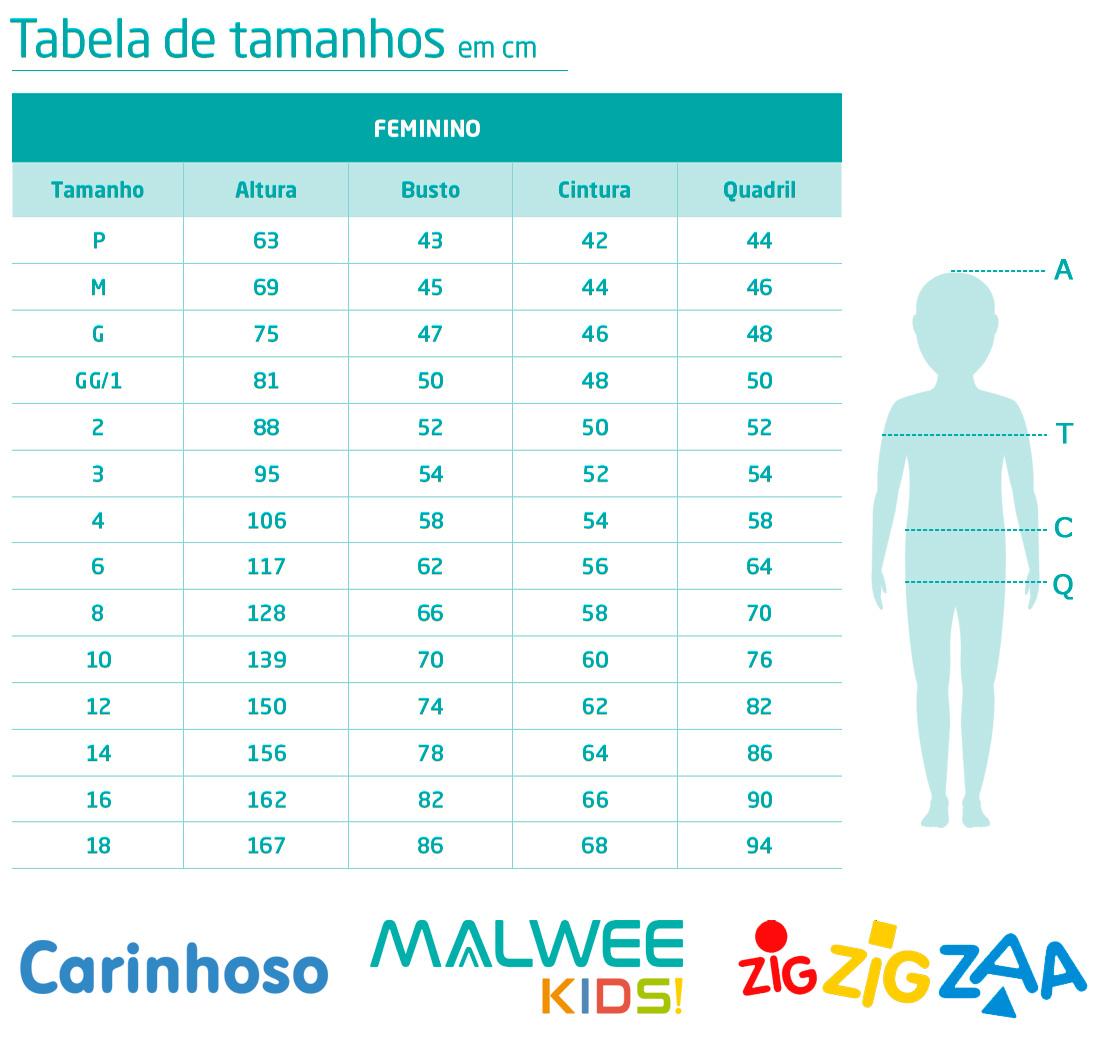 Conjunto Infantil Feminino Malwee Curto Branco Enjoy: Tabela de medidas