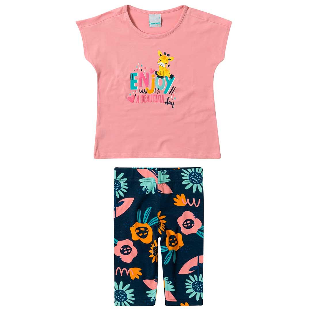 Conjunto Infantil Feminino Malwee Curto Rosa Enjoy Day