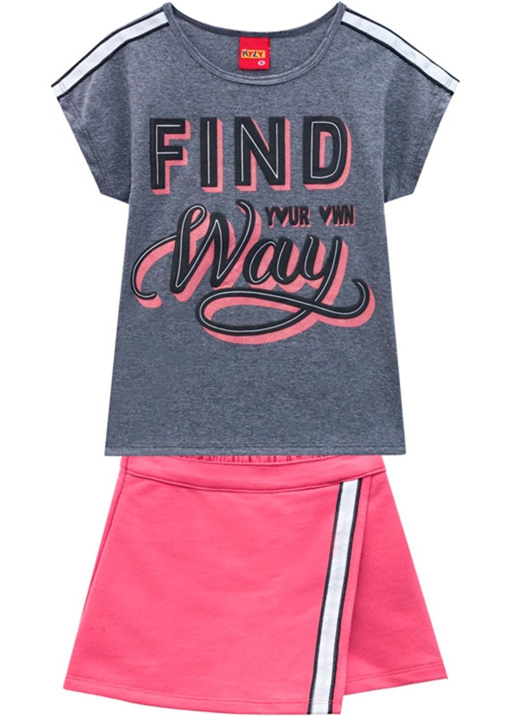 Conjunto Infantil Feminino Short Saia e Camiseta Grafite - Kyly