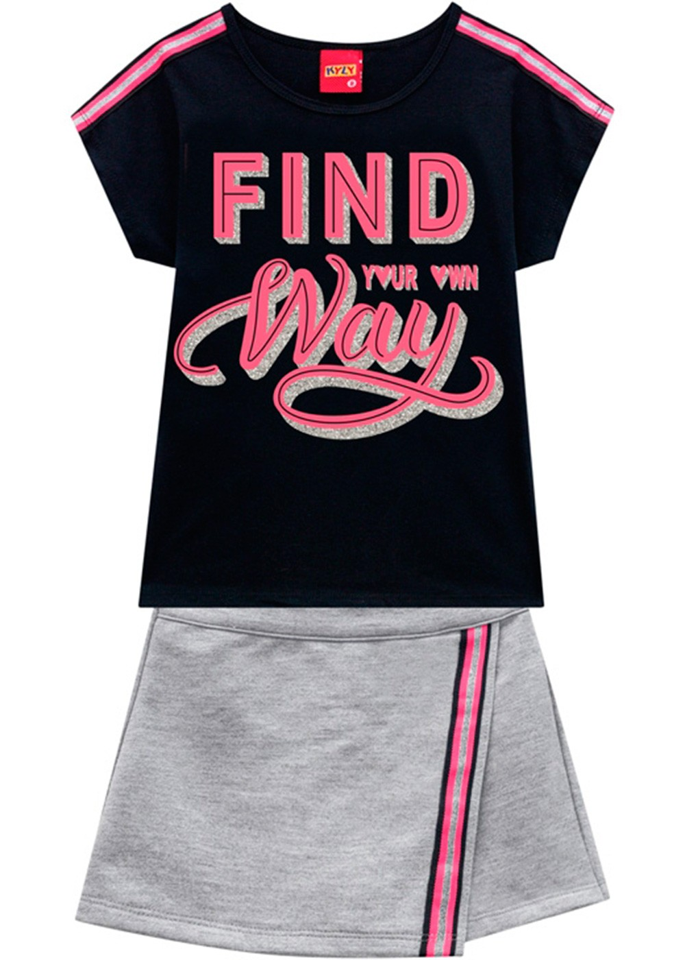 Conjunto Infantil Feminino Short Saia e Camiseta Preto – Kyly