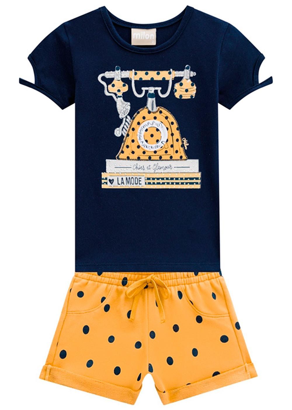 Conjunto Infantil Feminino Verão Azul Glamour Milon