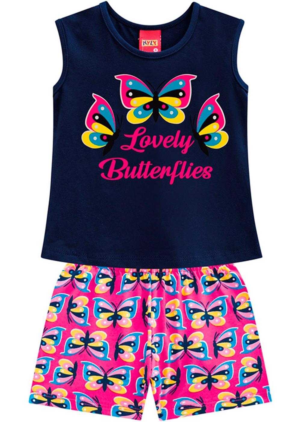 Conjunto Infantil Feminino Verão Azul Lovely Kyly