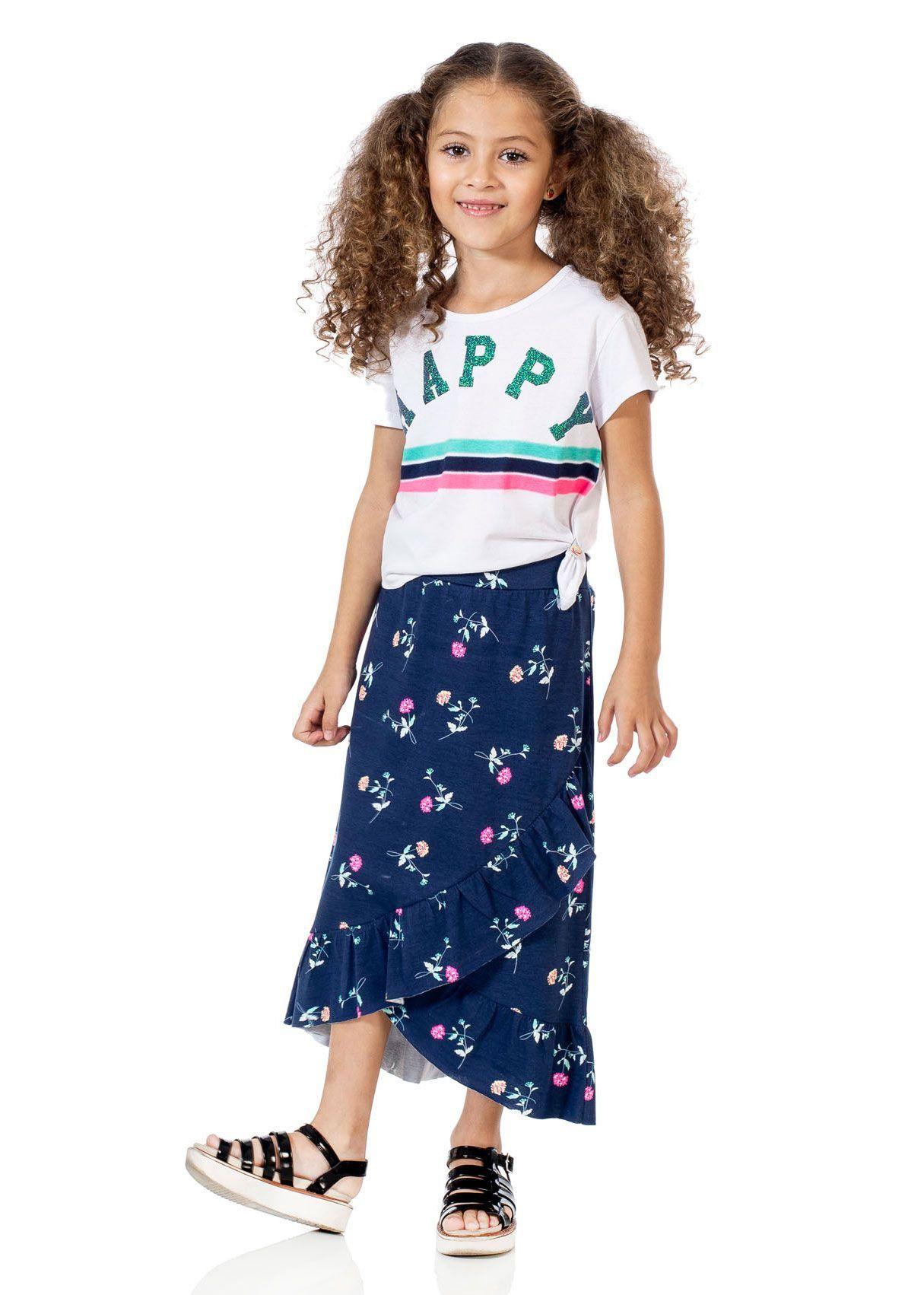 Conjunto Infantil Feminino Verão Branco Happy Kids Club