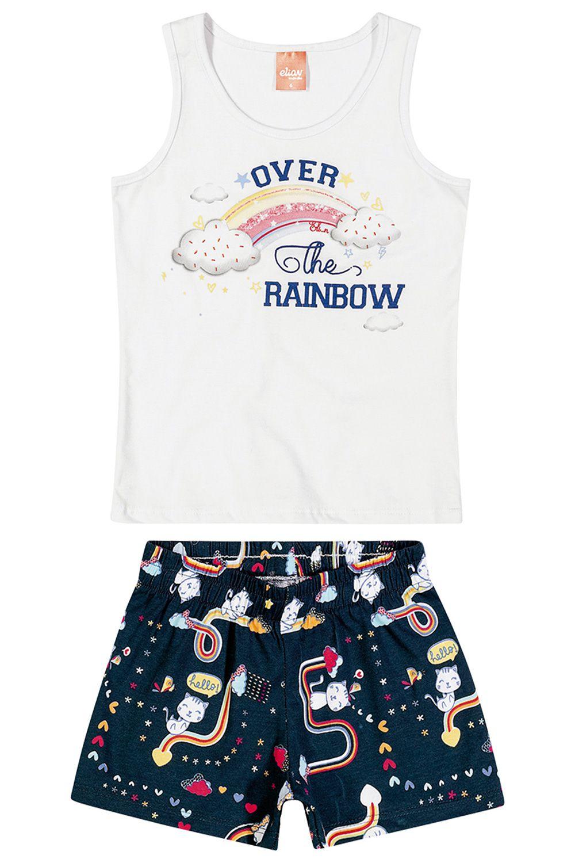 Conjunto Infantil Feminino Verão Branco Rainbow Elian