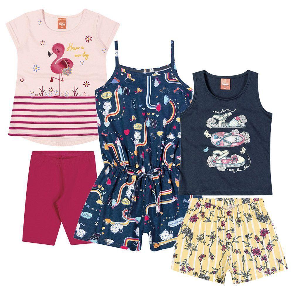 Kit com 3 Conjunto Infantil Feminino Verão Elian