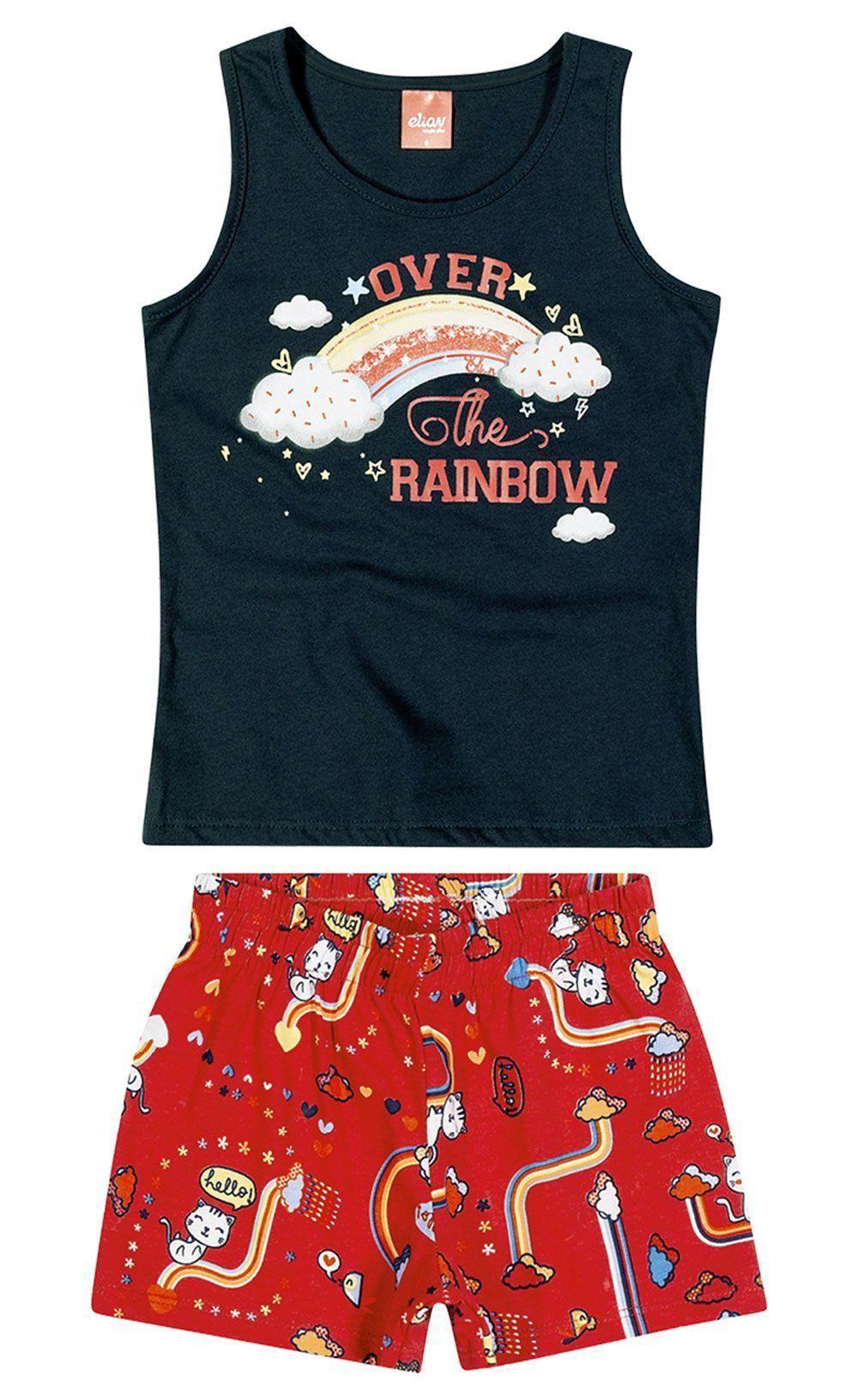 Conjunto Infantil Feminino Verão Marinho Rainbow Elian