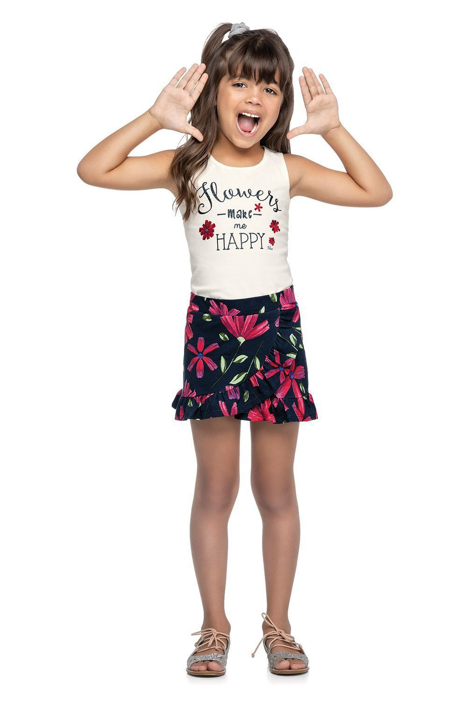 Conjunto Infantil Feminino Verão OffWhite Happy Elian