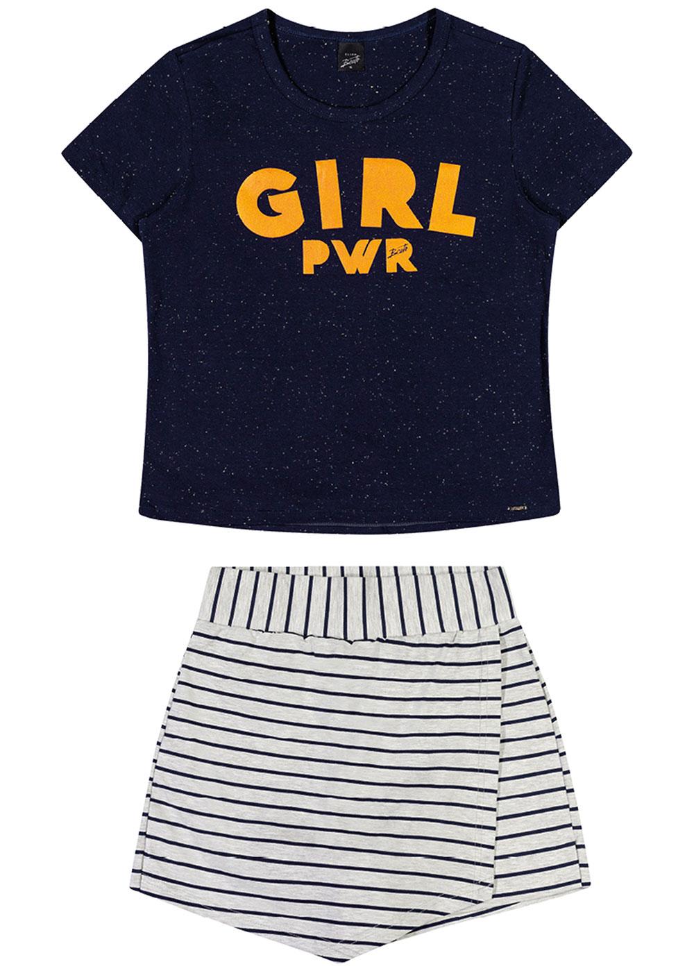 Conjunto Infantil Feminino Verão Preto Girl Elian