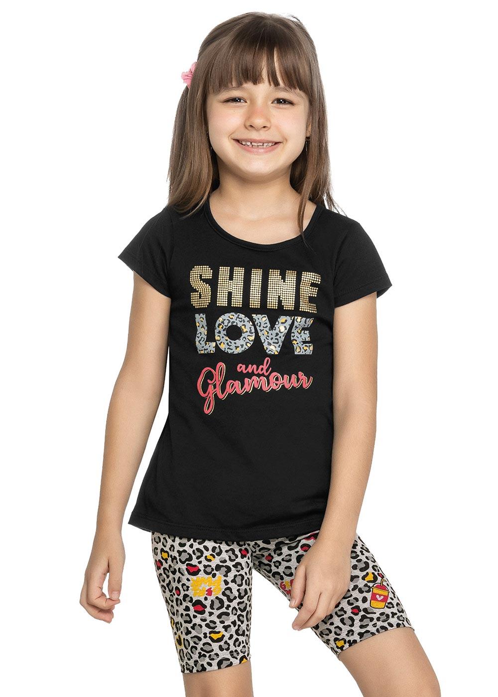 Conjunto Infantil Feminino Verão Preto Shine Elian