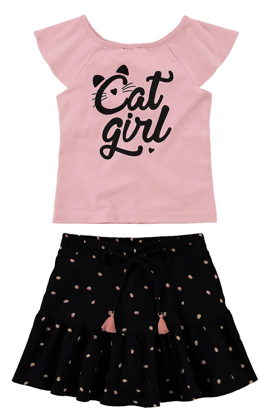 Conjunto Infantil Feminino Verão Rosa Cat Malwee