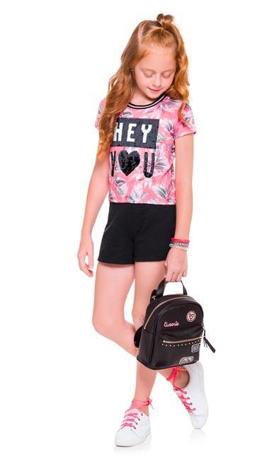 Conjunto Infantil Feminino Verão Rosa Hey Kyly