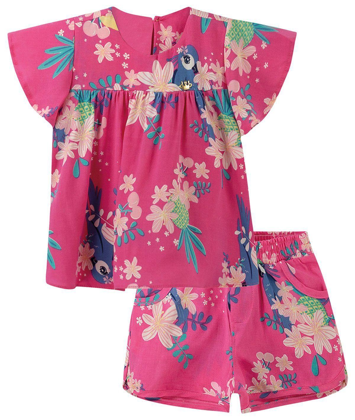 Conjunto Infantil Feminino Verão Rosa Tropical Colorittá