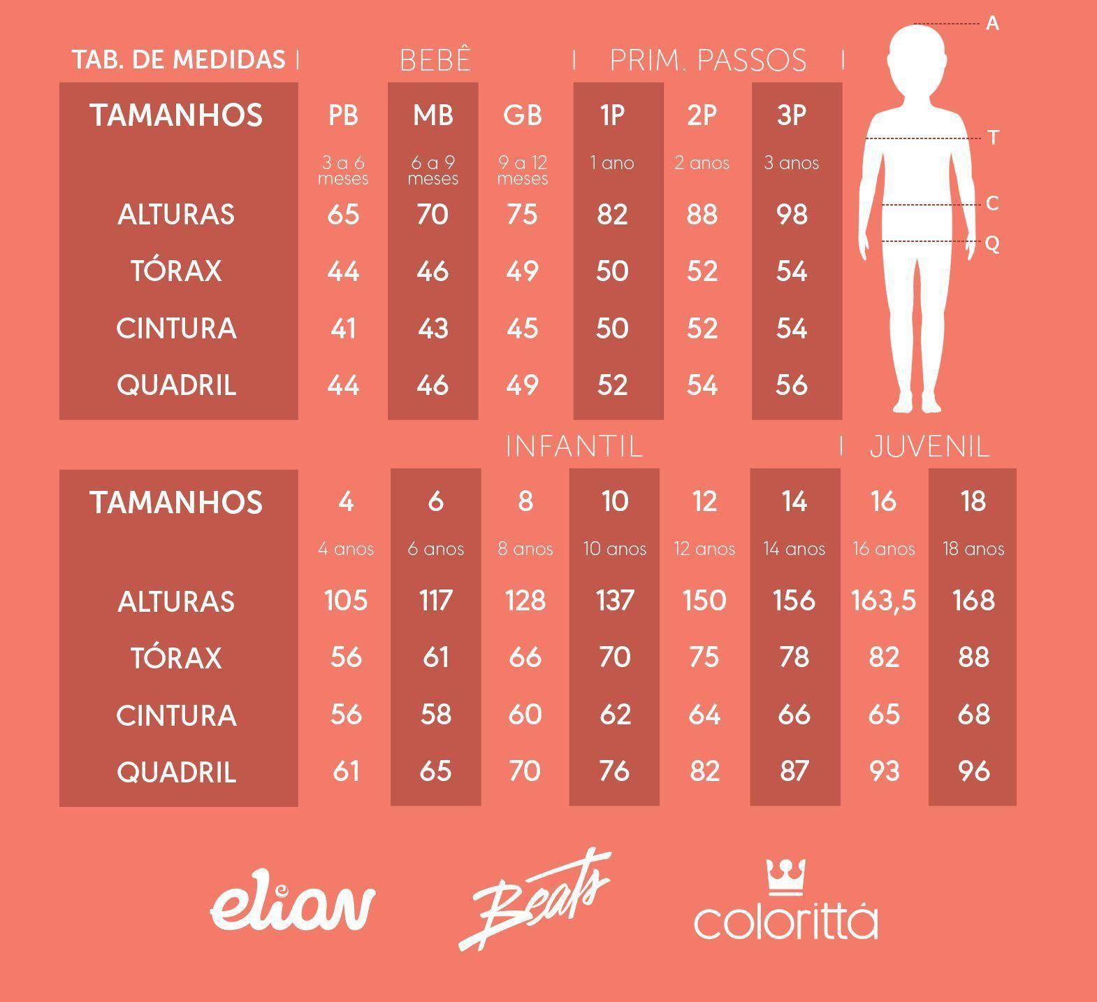 Conjunto Infantil Feminino Verão Rosa Tropical Colorittá: Tabela de medidas