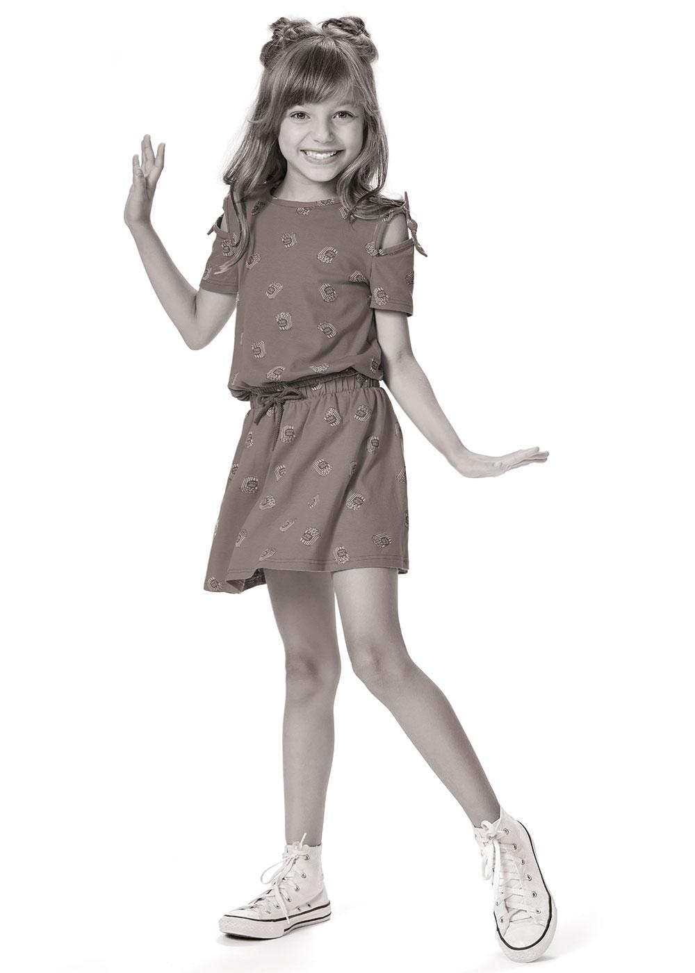 Conjunto Infantil Feminino Verão Verde Óculos Malwee: Tabela de medidas