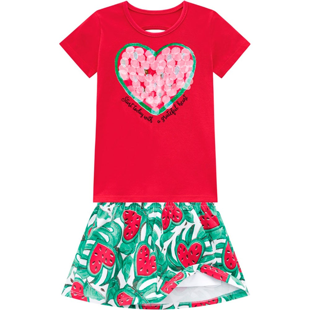 Conjunto Infantil Feminino Verão Vermelho Watermelon Kyly