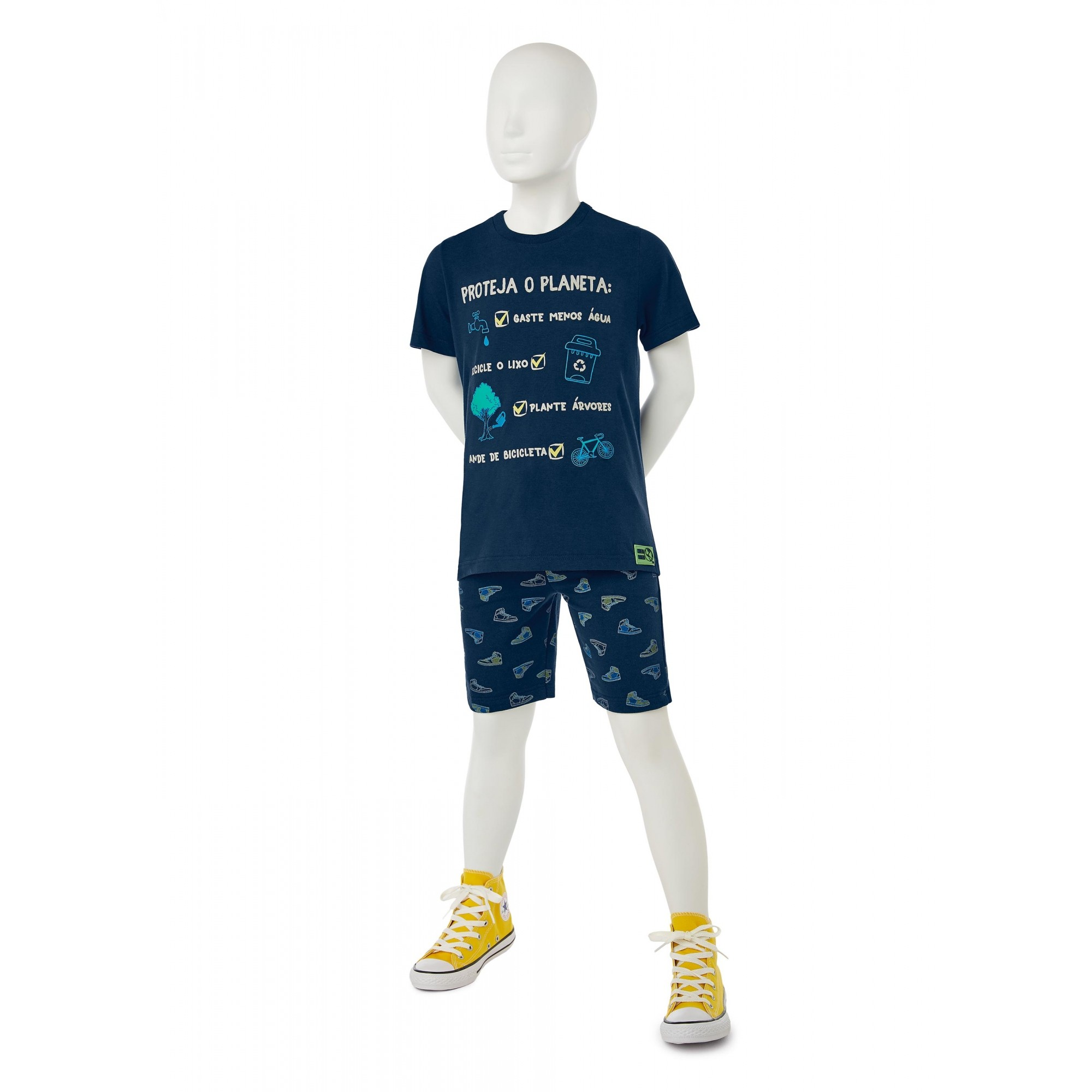 Conjunto Infantil Masculino Azul Marinho Proteja o Planeta - Malwee