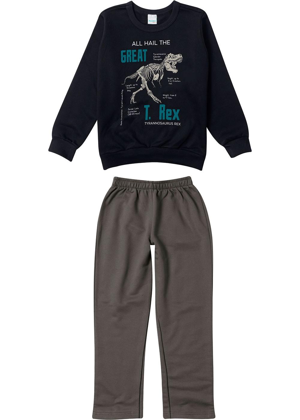 Conjunto Infantil Masculino Inverno T-Rex Preto Malwee
