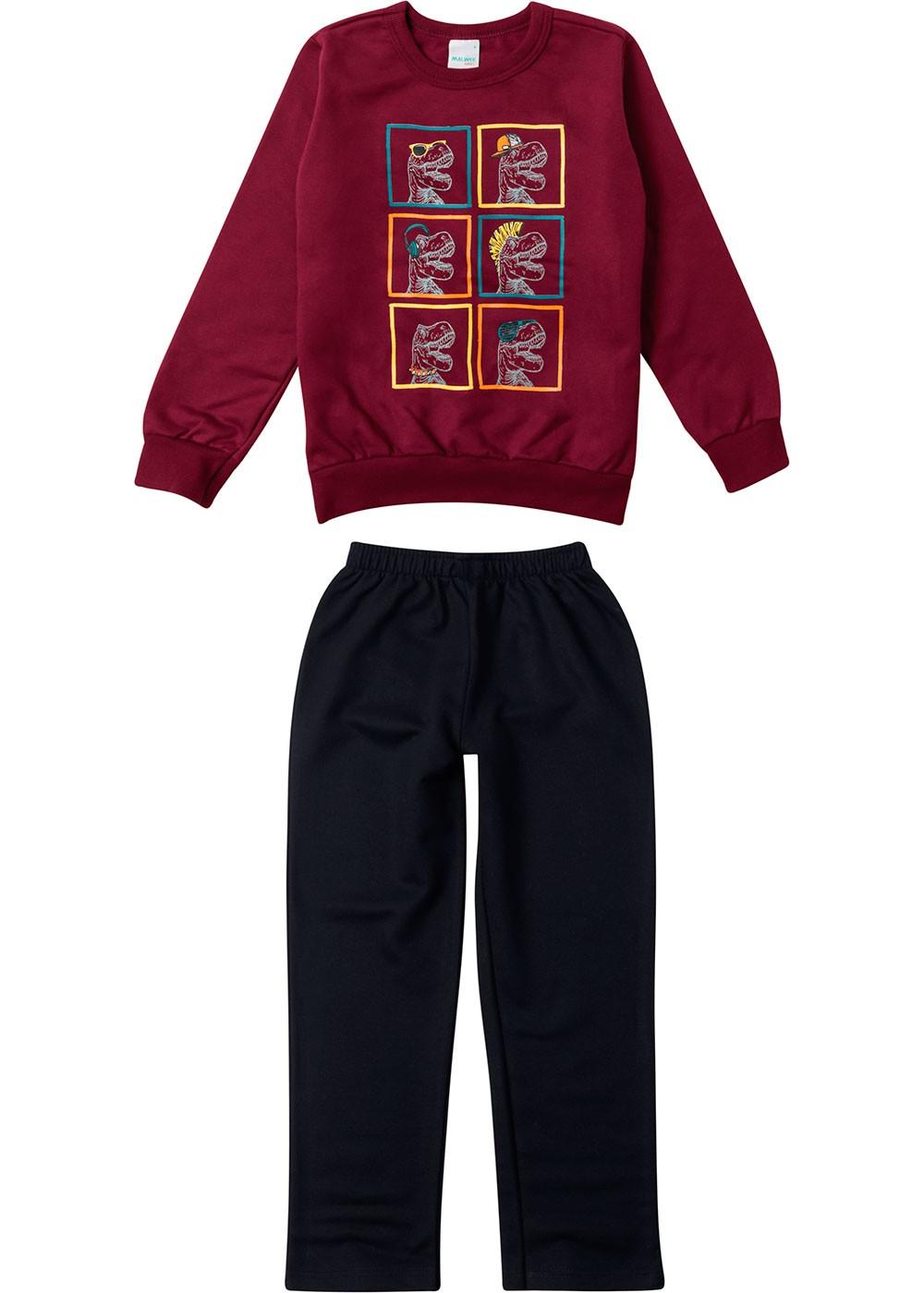 Conjunto Infantil Masculino Inverno Vermelho Dino Malwee