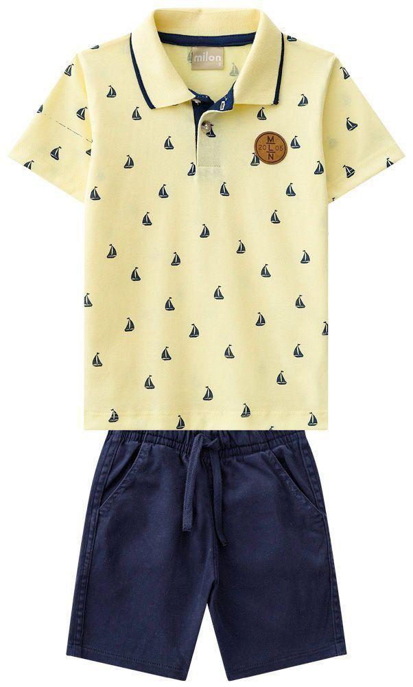 Conjunto Infantil Masculino Amarelo Barquinho Milon