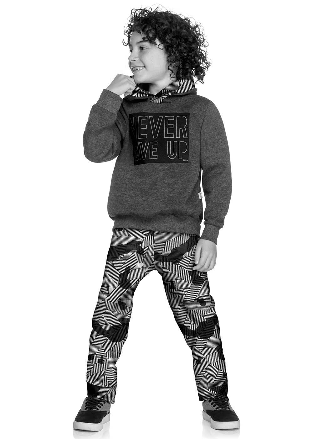 Conjunto Infantil Masculino Azul Never Give Up - Elian