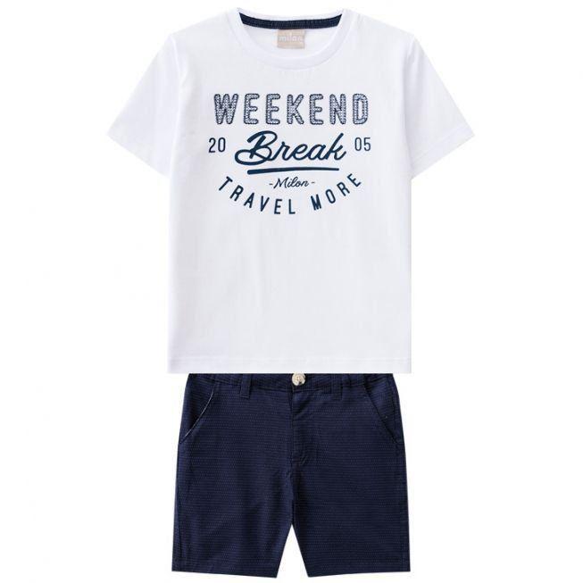 Conjunto Infantil Masculino Branco Weekend Milon
