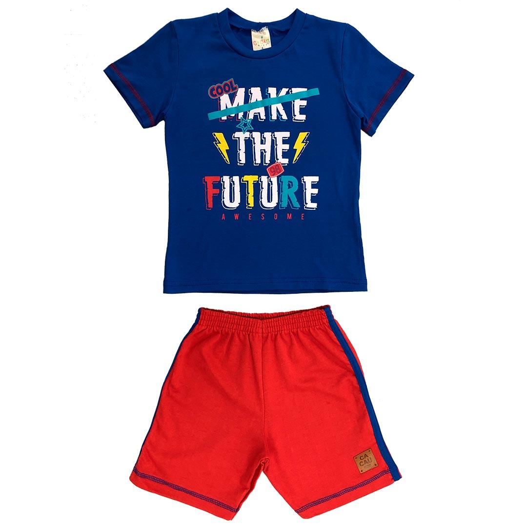 Conjunto Infantil Masculino Curto Azul Future - Cacau Kids