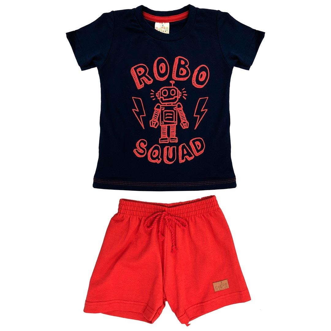 Conjunto Infantil Masculino Curto Azul Robô - Cacau Kids