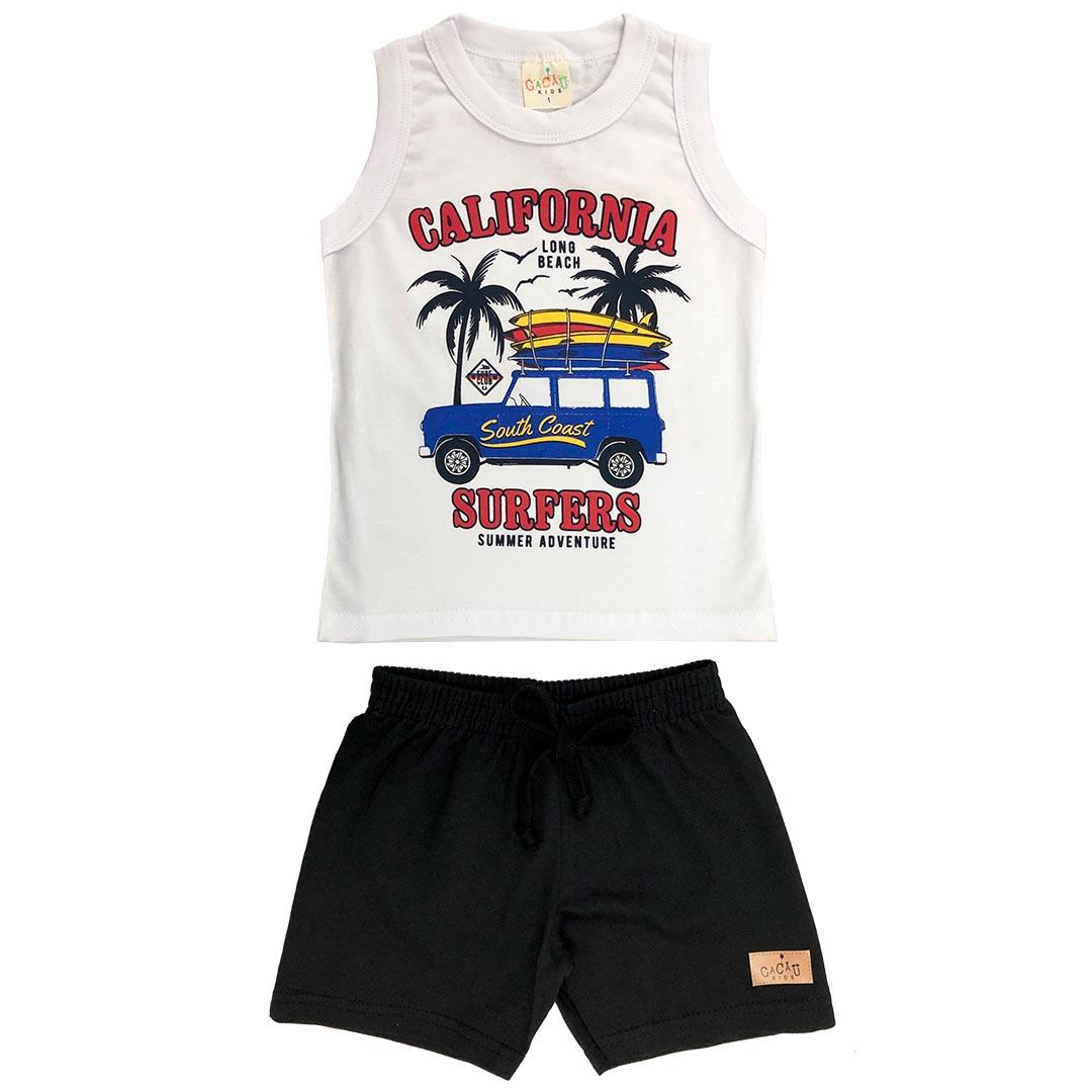 Conjunto Infantil Masculino Curto Branco California - Cacau Kids