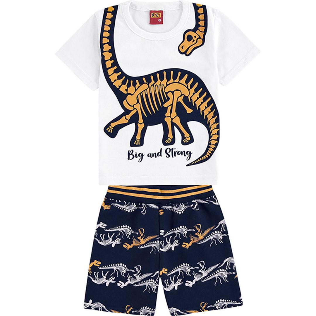 Conjunto Infantil Masculino Curto Branco Dinossauro  - Kyly