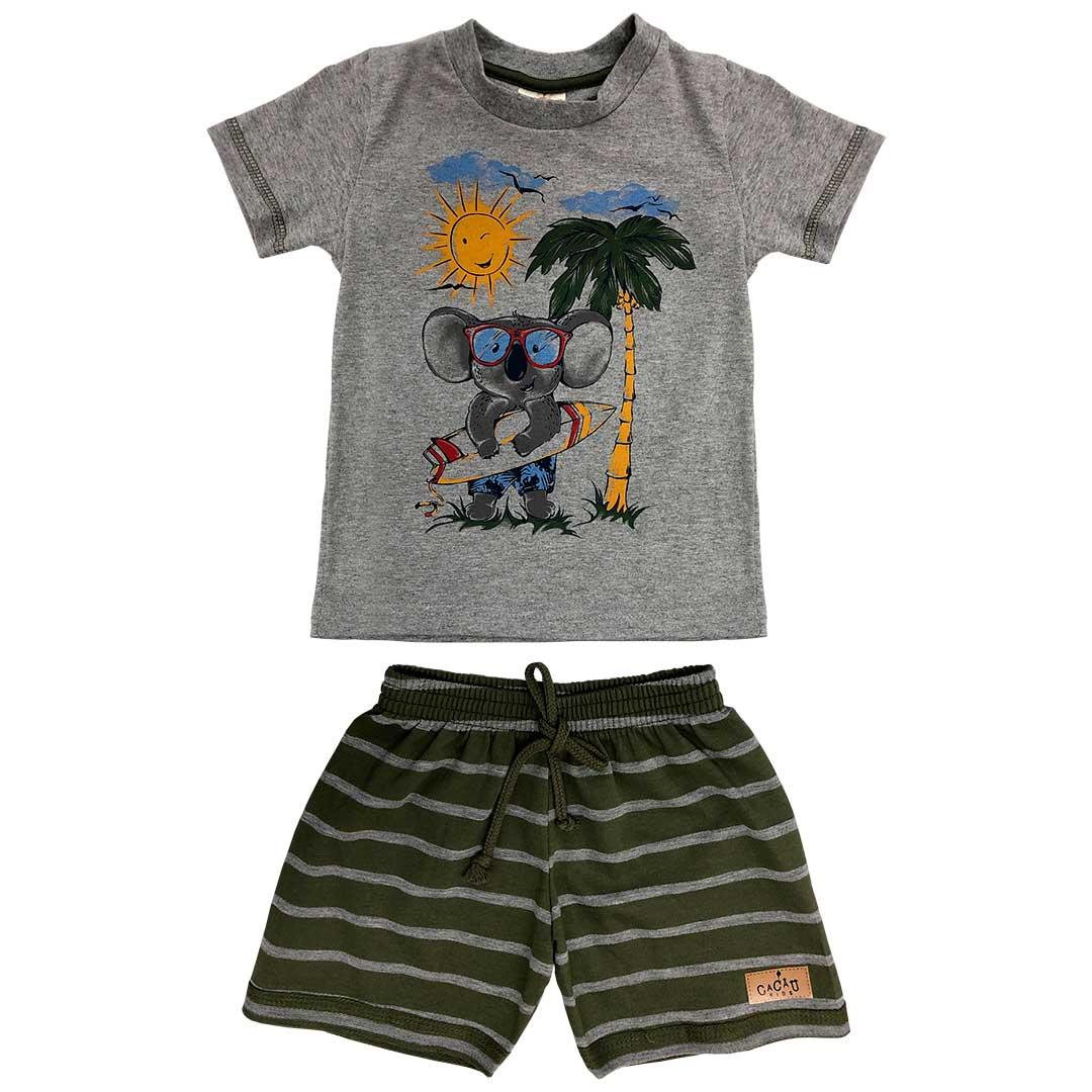 Conjunto Infantil Masculino Curto Cinza Coala - Cacau Kids