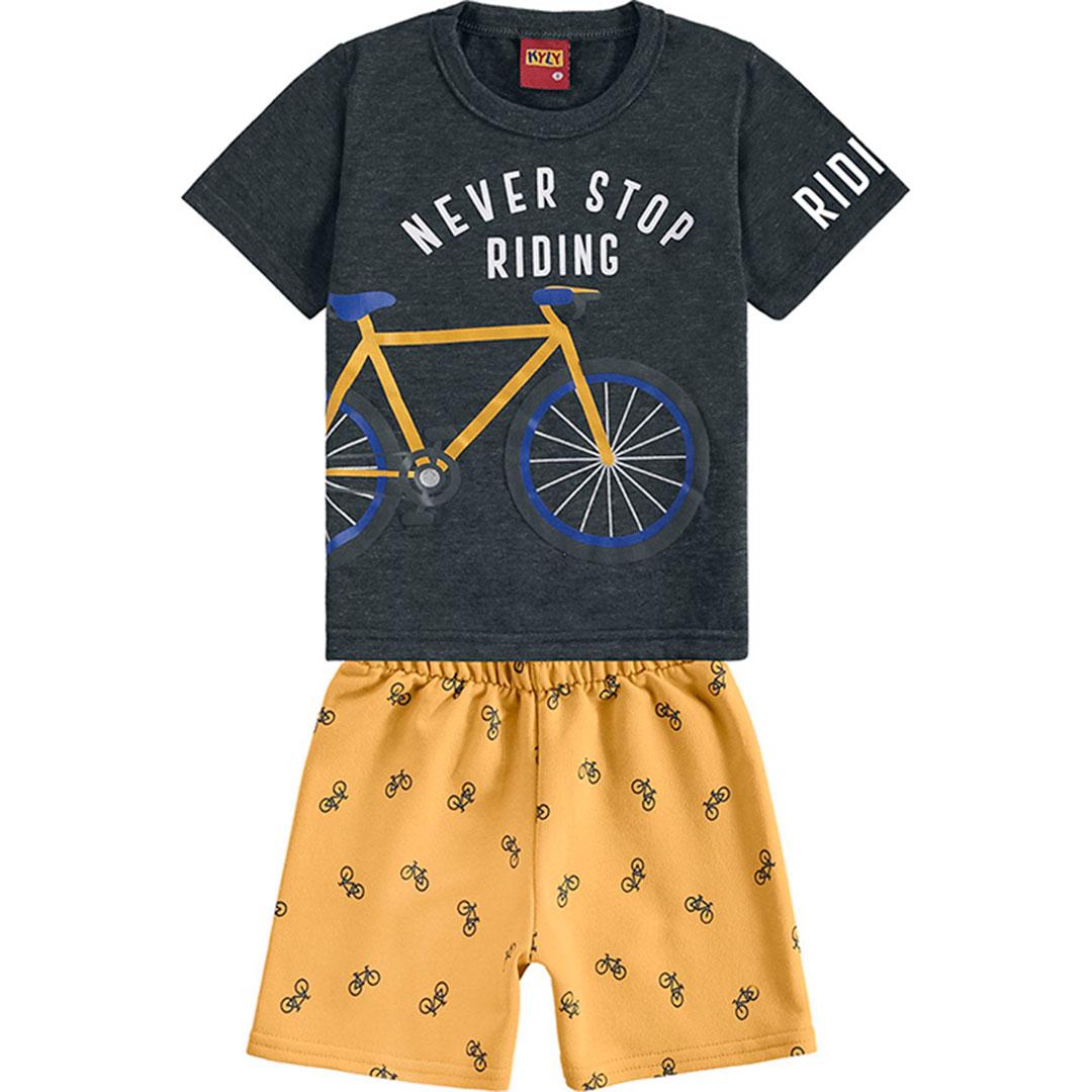 Conjunto Infantil Masculino Curto Cinza Escuro Riding - Kyly