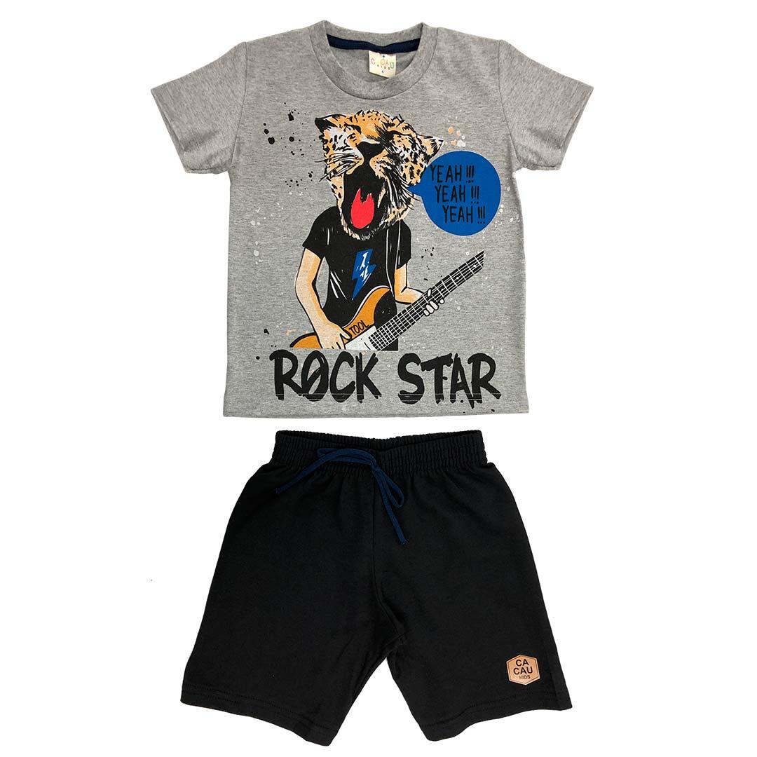 Conjunto Infantil Masculino Curto Cinza Rock Star - Cacau Kids