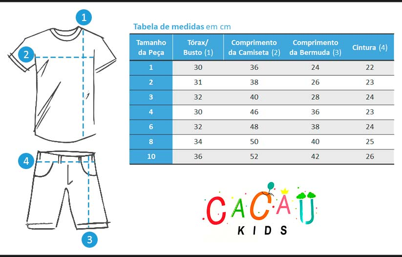 Conjunto Infantil Masculino Curto OffWhite T-Rex - Cacau Kids: Tabela de medidas