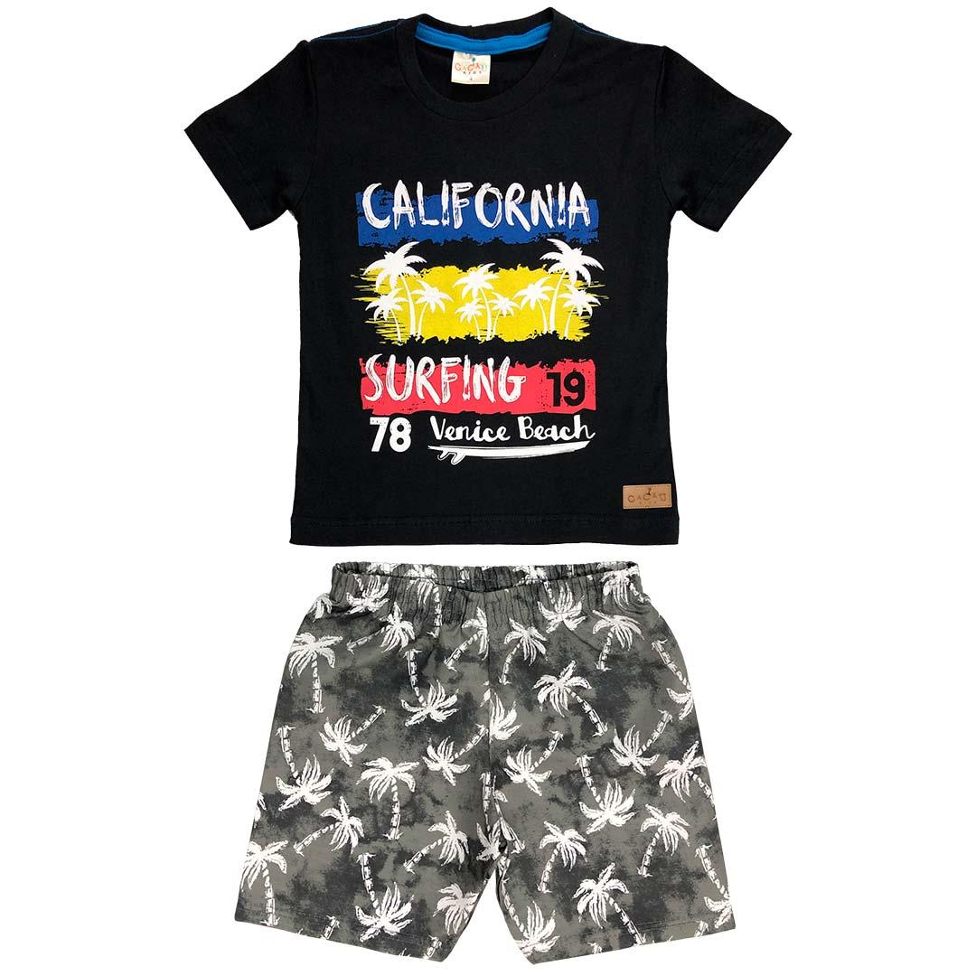 Conjunto Infantil Masculino Curto Preto California - Cacau Kids