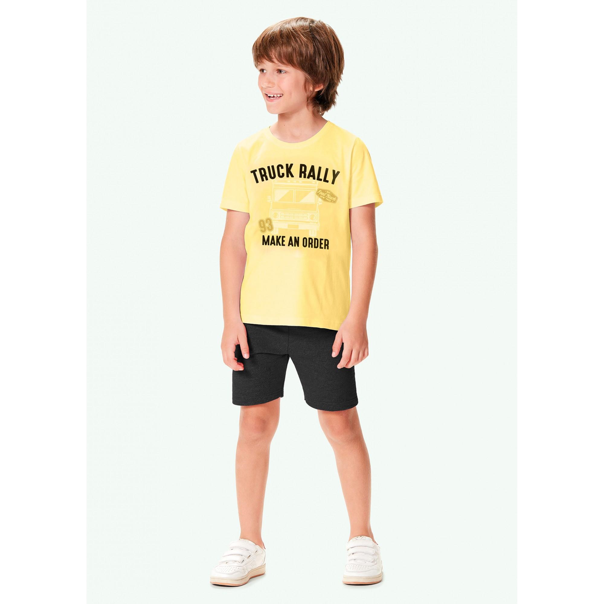 Conjunto Infantil Masculino Verão Amarelo Truck Malwee