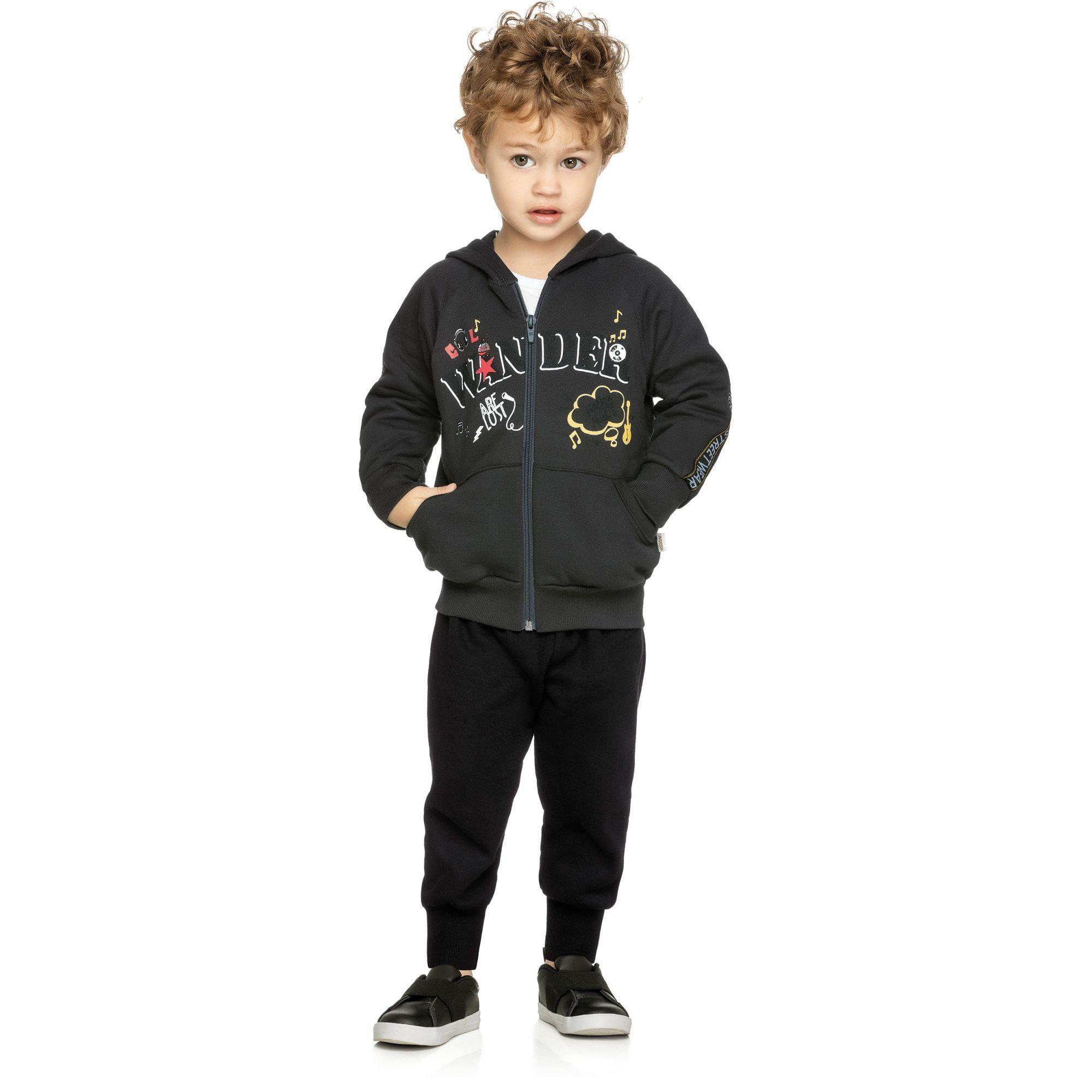 Conjunto Infantil Masculino Inverno Cinza Escuro Wander Elian