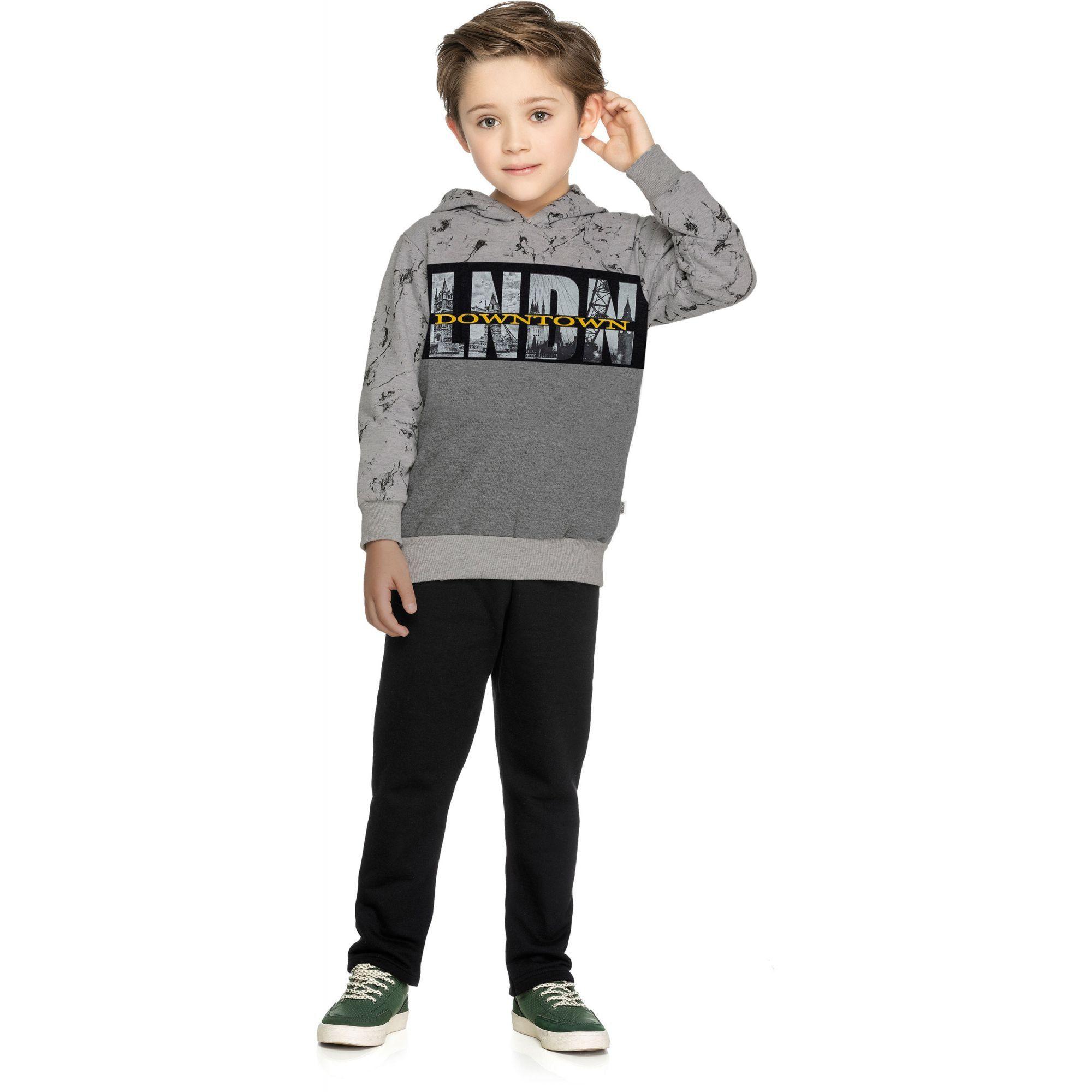Conjunto Infantil Masculino Inverno Cinza Mescla Claro LNDN Elian