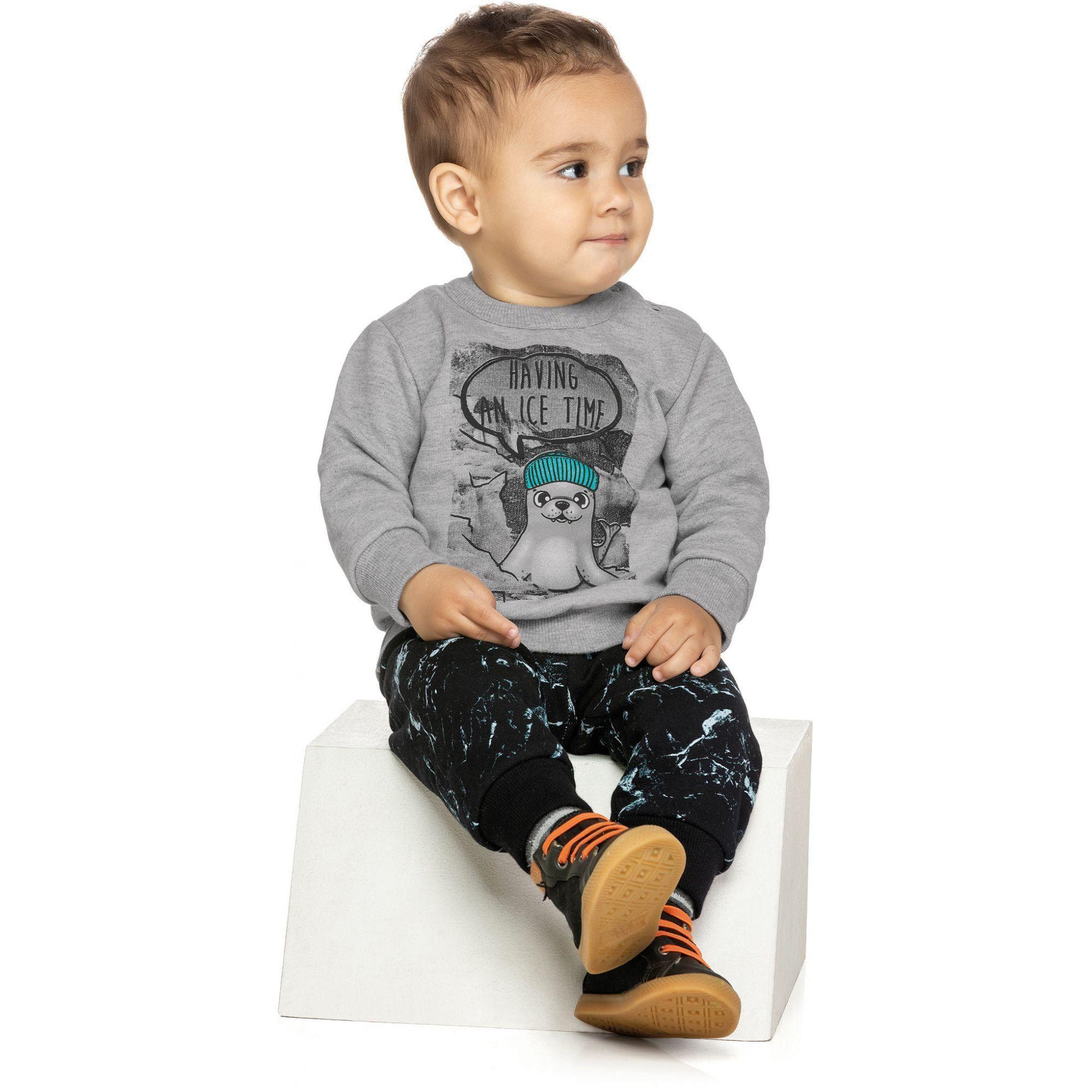 Conjunto Infantil Masculino Inverno Cinza Mescla Having Elian