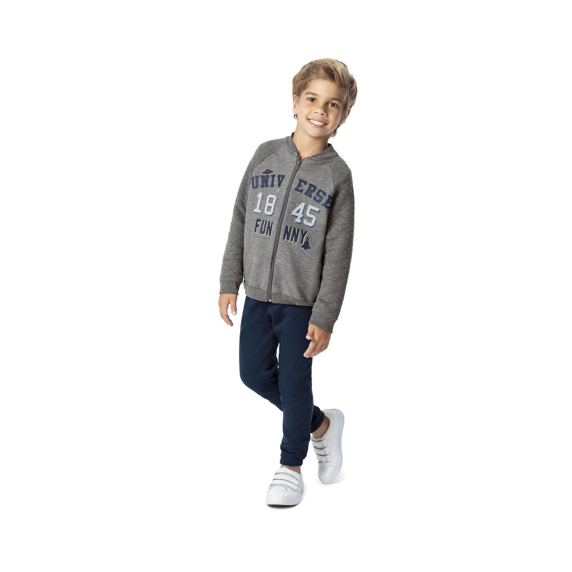Conjunto Infantil Masculino Inverno Cinza Mescla Universe Malwee