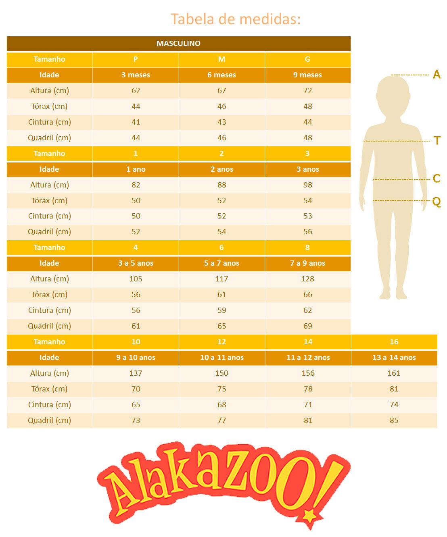 Conjunto Infantil Masculino Inverno Cinza Rex - Alakazoo: Tabela de medidas