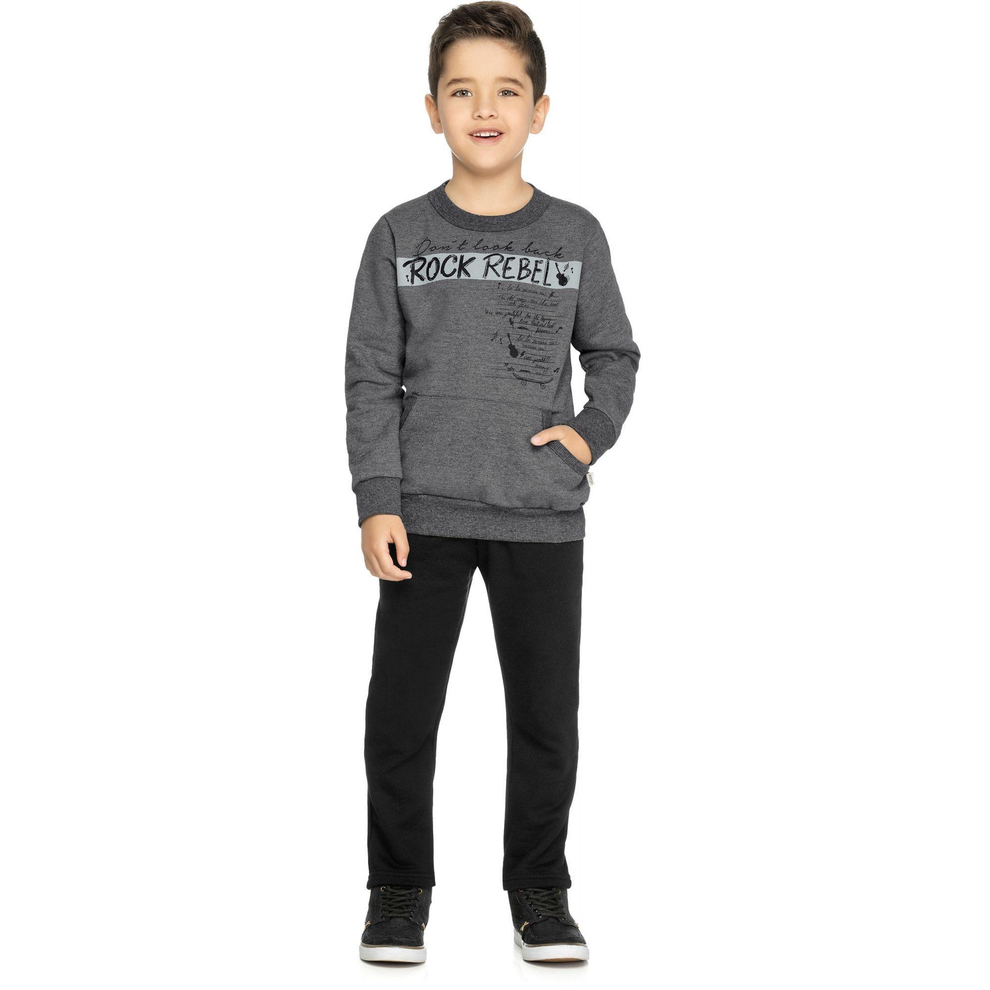 Conjunto Infantil Masculino Inverno Cinza Rock Rebel Elian